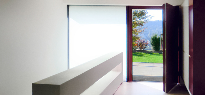 ENERGATE contemporary mainentrance door made of wood guarantees greater living comfort.
